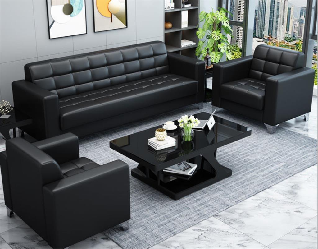 办公沙发商务接待小型沙发现代简约会客三人位办公室沙发茶几组合