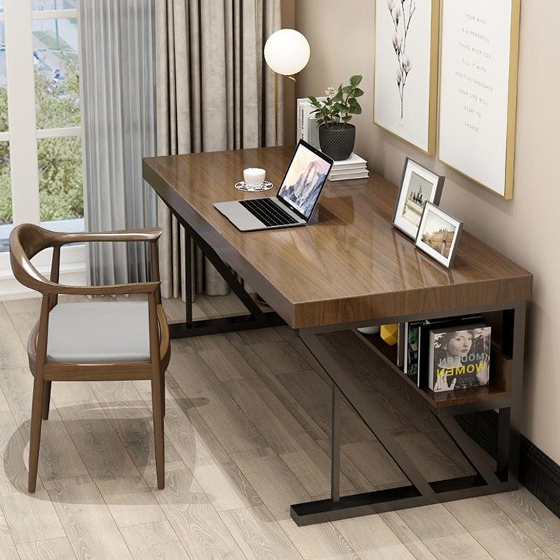 北欧实木电脑桌家用双人写字桌卧室书房长方形书桌简约台式办公桌