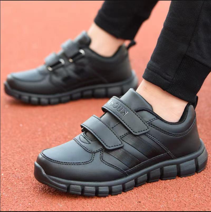 跨境儿童小黑鞋女童黑色运动鞋男童休闲鞋中大童旅游鞋小学生