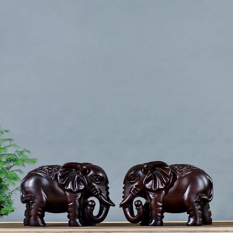 直播 大象木质工艺品动物摆件黑檀木雕
